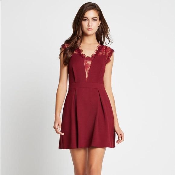 756c812066 BCBGeneration Dresses & Skirts - BCBGeneration Wine Lace Back Pleated Dress